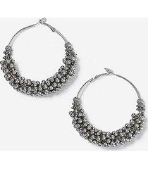*beaded hoop earrings - silver