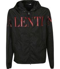 valentino logo print hooded jacket