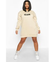 plus oversized 'icon' sweatshirt jurk met capuchon, kameel