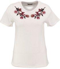 garcia stevig zacht off white shirt met borduringen