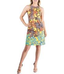 women's abstract print sleeveless halter shift dress