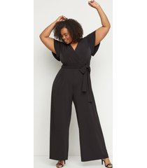 lane bryant women's flutter-sleeve faux-wrap jumpsuit 26/28 black