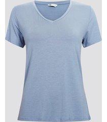 kortärmad t-shirt med v-ringning - ljusblå
