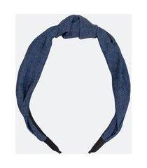 tiara larga efeito jeans com nózinho | accessories | azul | u