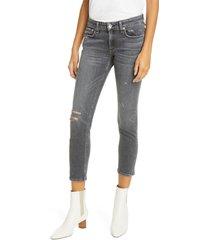 women's rag & bone dre ripped denim boyfriend jeans, size 34 - grey