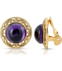 2028 gold tone purple stone round button clip earring