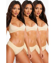 3 pack seamfree triangle bralette, nude