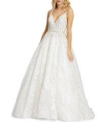 mac duggal women's lace overlay ball gown - white - size 4