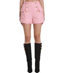 balmain shorts in rose-pink viscose