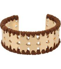 jessica simpson suede wrapped geometric cuff bracelet
