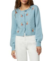 favorite daughter mimi nana embroidered wool & cashmere cardigan, size large in baby blue at nordstrom