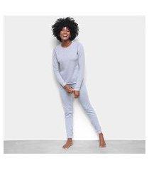 pijama lupo longo básico família feminino