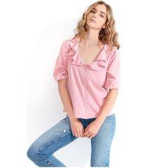 blusa para mujer cuello redondo, manga 3/4 color-rosa-mag-talla-l