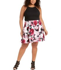 speechless trendy plus size solid & floral-print dress, created for macy's