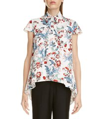 women's erdem clovelly floral print high/low top, size 10 us - white