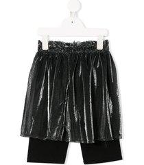 andorine layered mesh shorts - silver