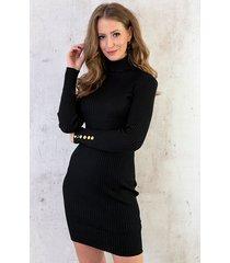 col jurk met knopen zwart