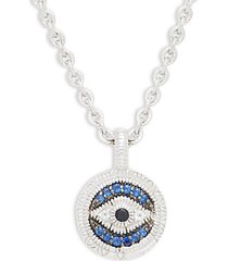 sterling silver, white topaz, black & blue sapphire pendant necklace