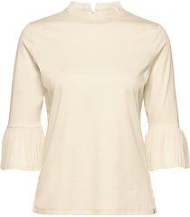 andy & pablo long sleeve tee with special collar blus långärmad creme scotch & soda