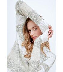 motivi maglia a righe lurex donna beige