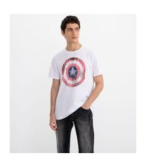 camiseta manga curta com estampa marvel capitão américa | avengers | branco | m