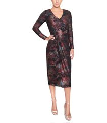 christian siriano new york ombre foiled wrap dress