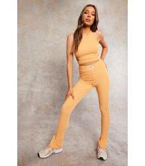gerecyclede geribbelde leggings met split, apricot