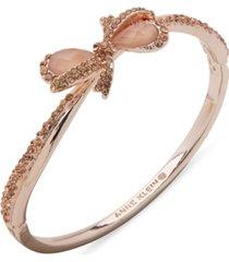 anne klein rose gold-tone crystal & stone bow bangle bracelet