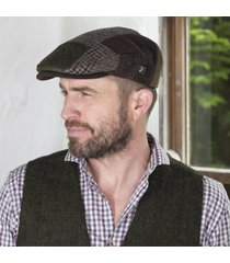 mens irish tweed patchwork cap brown large
