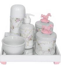 kit higiene espelho completo porcelanas, garrafa pequena e capa cavalinho rosa quarto bebê menina