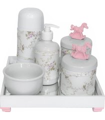 kit higiene espelho completo porcelanas, garrafa pequena e capa cavalinho rosa quarto beb㪠menina - rosa - menina - dafiti