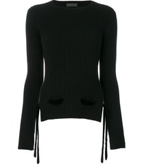 cashmere in love cashmere velvet belt sweater - black