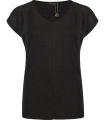 dayz aretha cupro v-hals met kapmouw top in black zwart