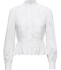 double pocket peplum blouse blouse lange mouwen wit frame