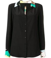 emilio pucci silk sash ties shirt - black