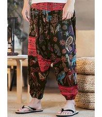 pantalones de harén casuales sueltos con estampado paisley estampado étnico para hombres