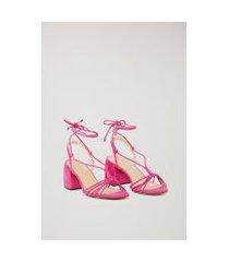 sandália de camurça salto médio amarraçã rosa - 39