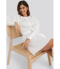 na-kd classic balloon sleeve cotton dress - white