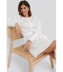 na-kd classic balloon sleeve cotton dress - white