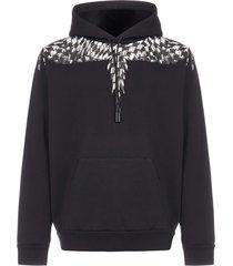 marcelo burlon cross-wings cotton hoodie