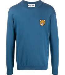 moschino intarsia knit bear sweatshirt - blue