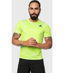 camiseta verde-blanco adidas performance camuflaje