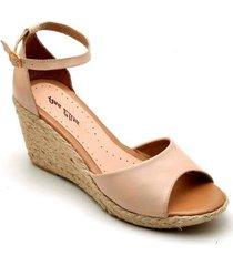 sandália anabela couro d&r shoes feminina