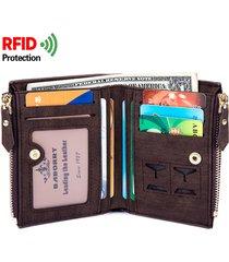 rfid uomo portafoglio in pelle pu antimagnetico con 8 slots carte e cerniera