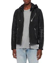 men's allsaints harwood hooded leather jacket, size x-small - black