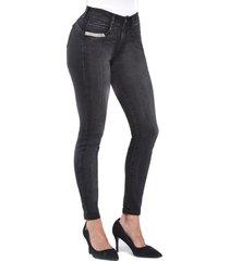 jeans tiro medio pitillo skinny 3117 negro amalia jeans