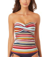 anne cole boardwalk stripe twist-front bandeau tankini top women's swimsuit