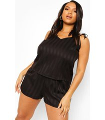 plus gestreept jacquard hemdje en shorts set, black