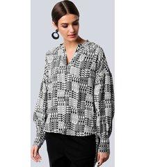 blouse alba moda offwhite::zwart