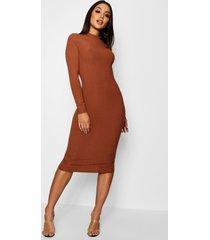 geribbelde midi jurk met hoge kraag en lange mouwen, geelbruin